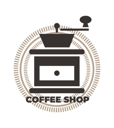 Coffee grinder icon. Coffee shop  template, coffee house. Brown vector isolated illustration. Ilustração