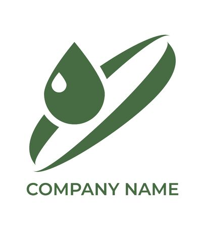 Green eco icon. Template for logo. Vector isolated illustration on white.