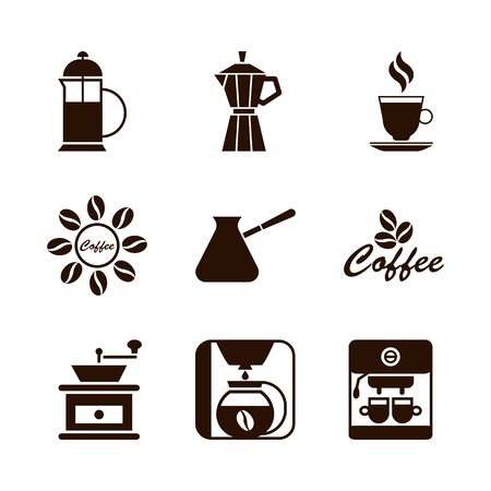 Coffee shop set of brown icons. Silhouette vector isolated illustration Иллюстрация
