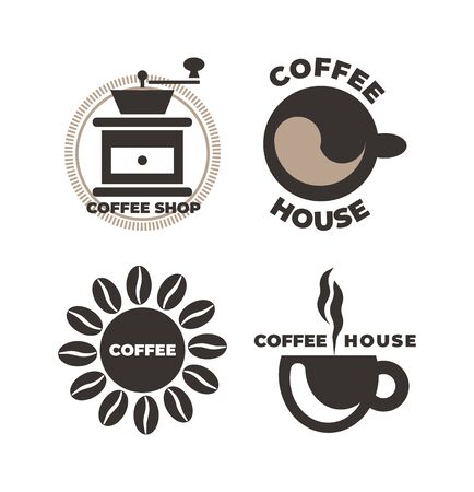 Coffee shop  icon set. Brown vector isolated illustration.