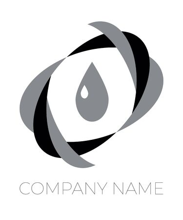 Logo template for eco or bio company. Vector black and white isolated icon.