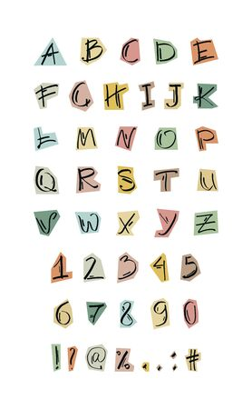English alphabet. The set of letters, numbers and signs is manually drawn with a felt-tip pen. Vector color isolated illustration on white. Illusztráció