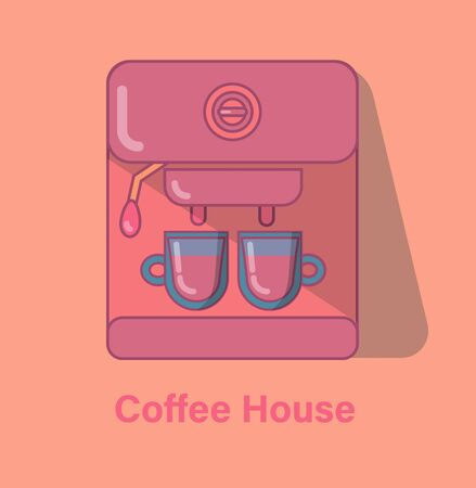 Coffee maker on an orange background. Vector flat illustration in pastel colors. 向量圖像