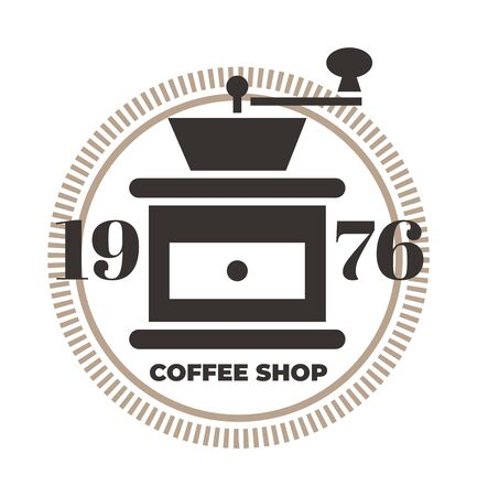 Coffee grinder icon. Coffee shop  template, coffee house. Brown vector isolated illustration. Иллюстрация