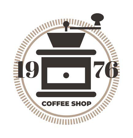 Symbol für die Kaffeemühle. Coffeeshop-Vorlage, Kaffeehaus. Brown-Vektor lokalisierte Illustration.