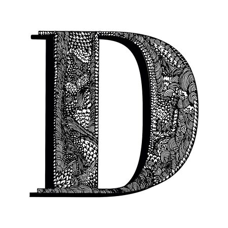 Capital letter D. Hand drawn letter of the English alphabet, decorated with original textures. Black and white vector isolated illustration. Ilustração