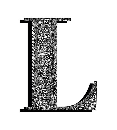 Capital letter L. Hand drawn letter of the English alphabet, decorated with original textures. Black and white vector isolated illustration.