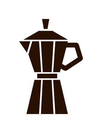 Geyser coffee maker icon. Vector silhouette brown isolated illustration on white. Иллюстрация