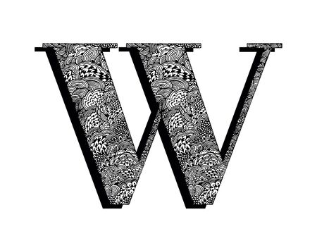 Capital letter W. The original texture of lines, dots and floral ornaments is manually drawn. Vector black and white isolated illustration.