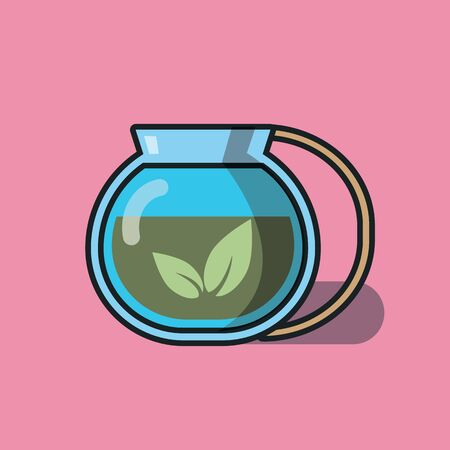 Tea in the teapot. Vector color flat icon on pastel pink background. Illustration