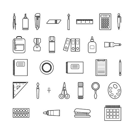 Stationery set of icons. Linear black and white vector isolated illustration.