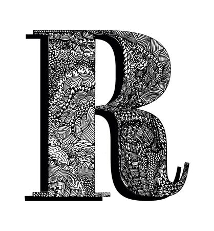 Capital letter R. The original texture of lines, dots and floral ornaments is manually drawn. Vector black and white isolated illustration. Ilustração