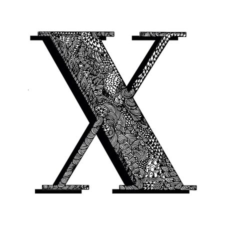 Capital letter X. The original texture of lines, dots and floral ornaments is manually drawn. Vector black and white isolated illustration.