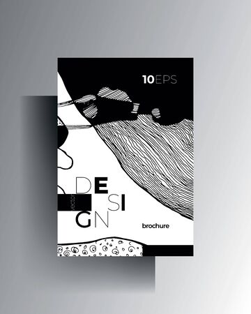 Design cover template A4 format. Hand-drawn graphic texture elements. Vector black and white illustration.