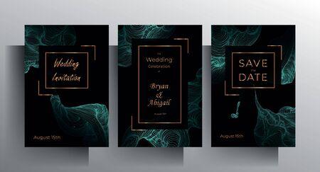 Entwerfen Sie Hochzeitseinladungsschablonensatz. Türkisfarbene Texturelemente und goldene Rahmen auf schwarzem Hintergrund sind von Hand gezeichnet. Vektor-10-EPS. Vektorgrafik