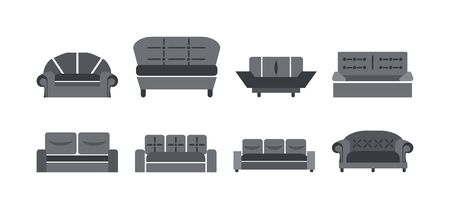 Sofas icon set. Vector 10 EPS. Isolated monochrome illustration on a white background. Banque d'images - 131842709