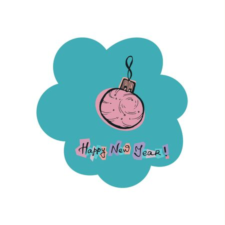 Ball Christmas toy. Hand drawn color doodle illustration retro style. EPS 10 vector Çizim