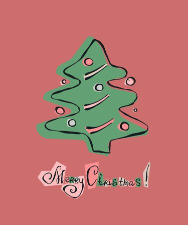 Christmas tree. Hand drawn color doodle illustration retro style. EPS 10 vector