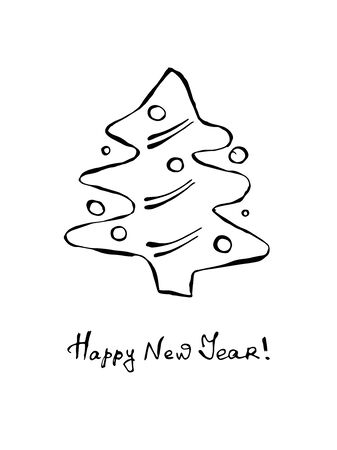Christmas tree. A black and white contour doodle illustration is hand drawn. EPS 10 vector