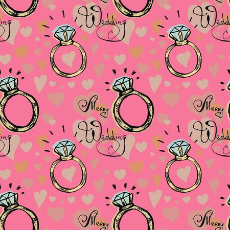 Diamond ring seamless pattern on a pink background. Colored hand drawn vector doodle illustration. Иллюстрация