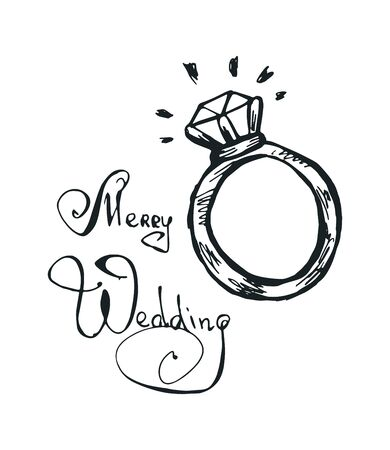 A ring with a diamond. A black and white doodle illustration is hand drawn. Vector 10 EPS.