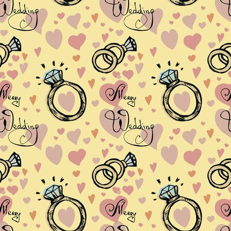 Wedding rings seamless pattern on cream background.  Colored hand drawn vector doodle illustration.