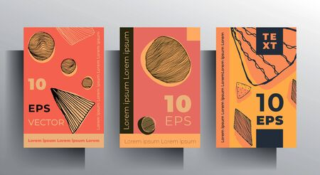 Set of cover templates, brochures, posters. Retro design in bright colors with hand-drawn textural elements. EPS 10 vector. Ilustração