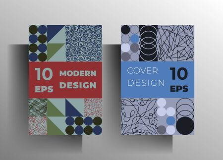 Set of geometric covers. Original retro style design in pastel colors with hand-drawn textural elements. Vector 10 EPS.