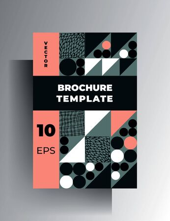 Template geometric cover, poster, brochure. Modern design in pastel colors with hand-drawn textural elements. Vector 10 EPS. Ilustração