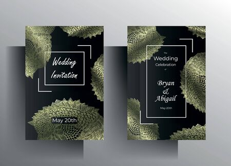 Design wedding invitation card set. Hand painted metal textural ornament on a graphite black background.