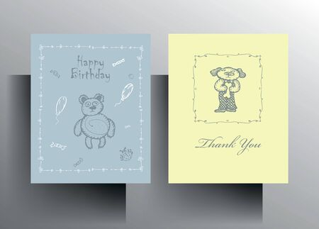 A set of cards Happy Birthday and Thank you. A cute character in pastel colors is manually drawn. Illustration