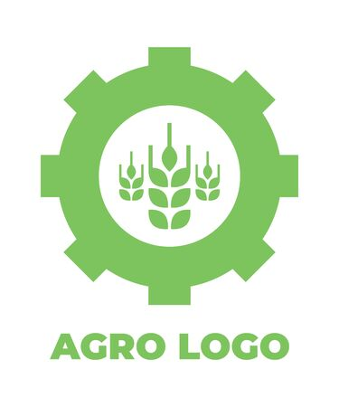 Logo template for agro company. Green vector isolated icon. Foto de archivo - 134544175