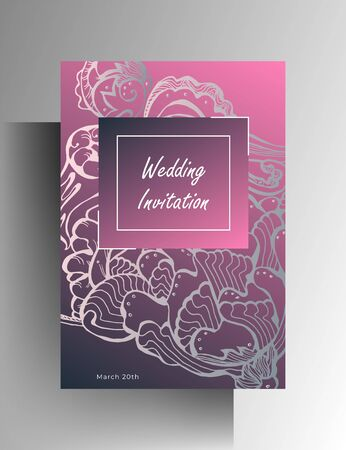 Wedding invitation design. Hand drawn graphic floral elements on a pink background. EPS 10 vector