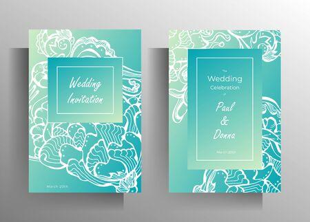 Design wedding invitation card set. Hand drawn graphic floral elements on jade background. EPS 10 vector Standard-Bild - 134628254