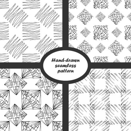 Hand drawn seamless pattern set. Black and white isolated texture from curved lines. Vector 10 EPS 版權商用圖片 - 134811757
