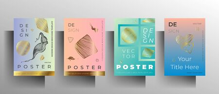 Set of poster, cover templates. Modern design in pastel colors with hand-drawn gold textured elements. Vector 10 EPS.