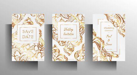 Design wedding invitation template set. Golden floral hand-drawn ornament on a white background. EPS 10 vector. Foto de archivo - 134857973
