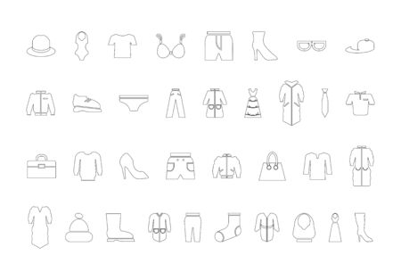 Clothing icon set. Vector contour black and white illustration. 일러스트