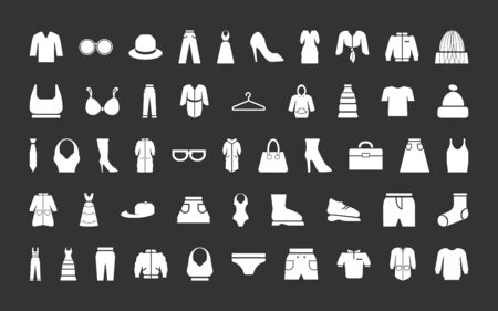 Clothes, shoes, accessories icon set. Vector silhouette black and white isolated illustration.