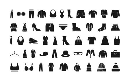 Clothing icon set. Vector power black and white isolated illustration.