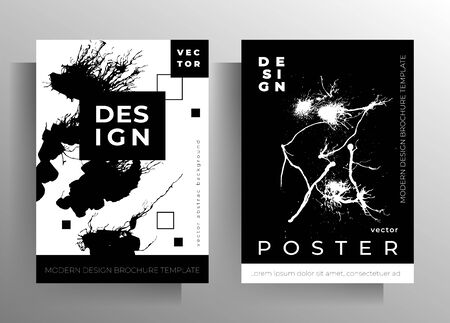 Set of cover templates for book, magazine, brochure, catalog. Monochrome design with hand drawn ink blots. Vector
