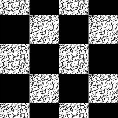 Schach nahtlose Muster. Einfarbige Vektorillustration mit handgezeichneten grafischen Elementen.