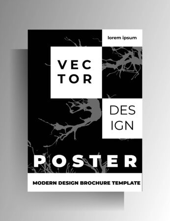 Monochrome cover template design with hand drawn ink blots. Vector 10 EPS. 向量圖像