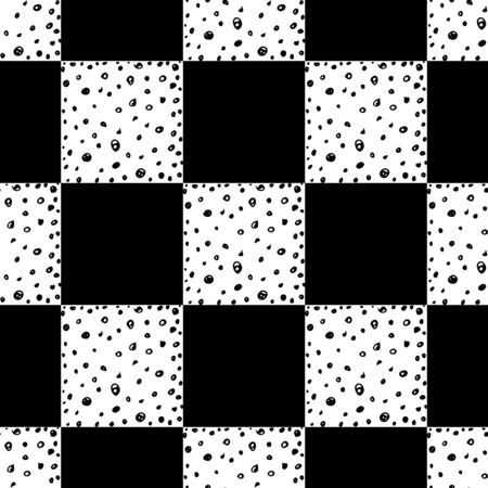 Chess seamless pattern. Monochrome vector illustration with hand drawn graphic elements.