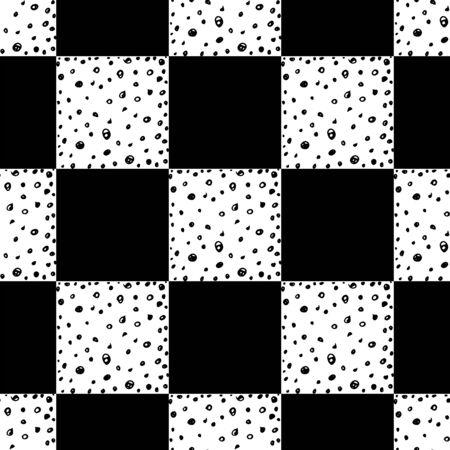 Schach nahtlose Muster. Einfarbige Vektorillustration mit handgezeichneten grafischen Elementen. Vektorgrafik