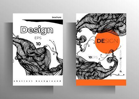 Set of poster, cover templates for book, magazine, booklet, catalog. Monochrome design with hand drawn graphic elements. EPS 10 vector. Banque d'images - 138252490