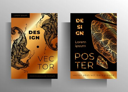 Cover design template set. Gold and black graphic elements are drawn by hand. A4 format. EPS 10 vector