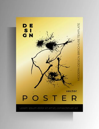 Cover, poster template design with ink spots. Hand drawn gold with black. Vector 10 EPS. Banque d'images - 138250425