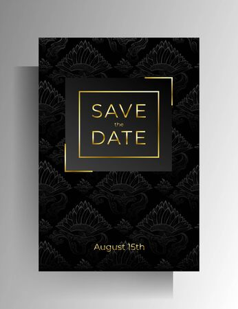 Wedding invitation design. Floral hand painted texture in black color. Vector 10 EPS.
