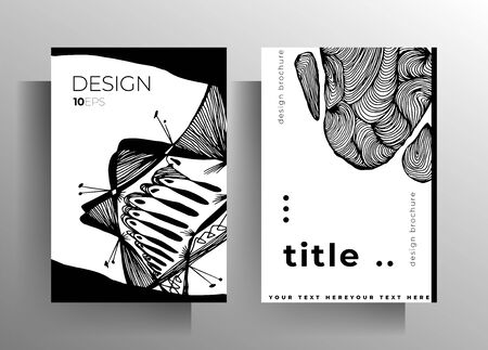 Set of poster, cover templates for book, magazine, booklet, catalog. Monochrome design with hand drawn graphic elements. EPS 10 vector.
